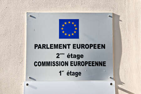 election commission: European parliament and commission sign on a wall Stock Photo
