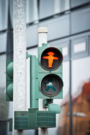 east of germany: Red pedestrian traffic light with the Ampelmann of East Germany, Berlin