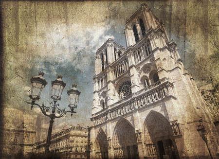 citylight: Notre Dame de Paris, France, vintage postcard style