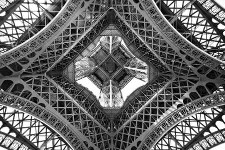 The Eiffel tower, view from below, Paris, France Stockfoto
