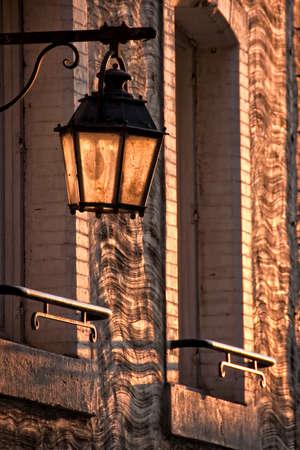 city light: Vintage city light in the sunset