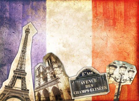 Vintage collage Paris and French flag photo