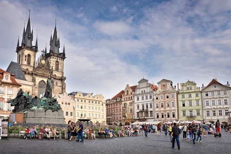 old town square: Tourists on the old town square of Prague, Czech republic Editorial