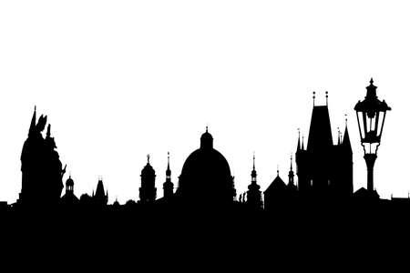 brige: Charles bridge silhouette isolated on white, Prague, Czech Republic