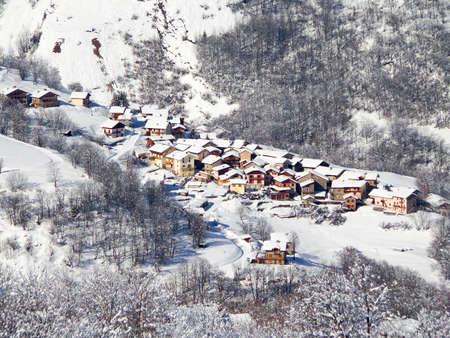 saint martin: Village of Saint Martin de Bellevile in winter, the Alps, France