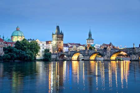 charles bridge: Vltava river and Charles bridge by night, Prague, Czech republic