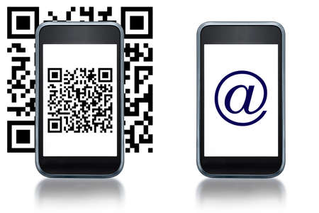 quick response code: Illustration of smartphone flashing a QR code