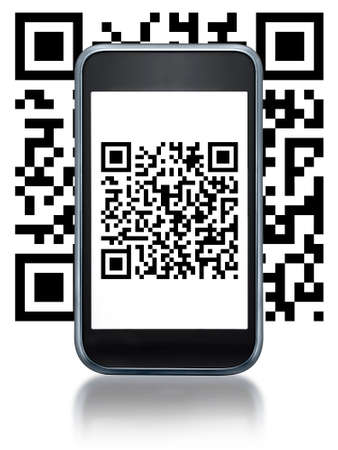 quick response: Illustration of smartphone flashing a QR code