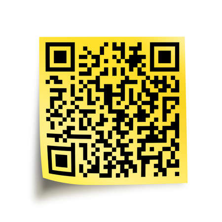 quick response: QR code on a yellow stick note isolated on white