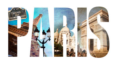 Photo collage letters PARIS, isolated on white