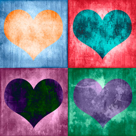 Collage of four colorful vintage hearts, grunge  photo