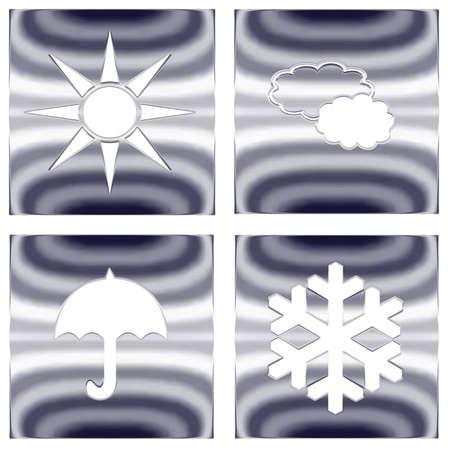 picto: Set of weather forecast silver metallic icons