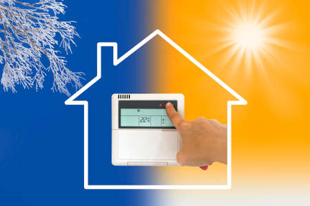 Heating and cooling air conditioner concept Stockfoto