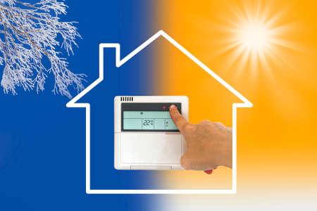 Verwarming en koeling airco-concept Stockfoto