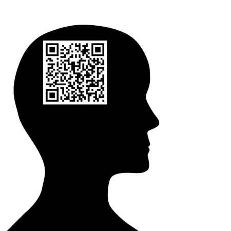 quick response: QR code in a man brain, silhouette isolated on white  Stock Photo