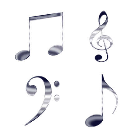 picto: Set of music notes and symbols silver metal icons