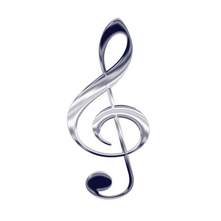 Music treble clef silver metal icon photo