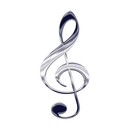picto: Music treble clef silver metal icon