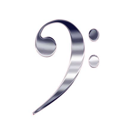 clave de fa: M�sica clef bajo icono de metal de plata