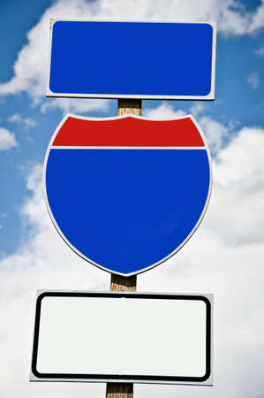 interstate: Close up of an american blank road sign