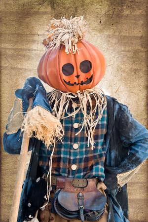 bugaboo: Straw man, vintage sepia texture Stock Photo