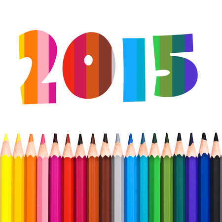 aligned: 2015, row of colorful pencils isolated on white background