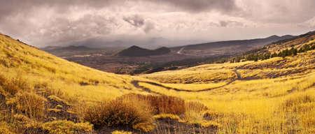 sicily: Panorama on the Etna volcano, Sicily, Italy