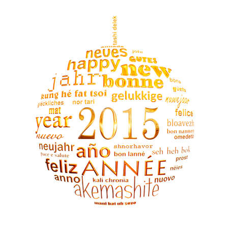2015 new year multilingual text word cloud greeting card in the shape of a christmas ball photo
