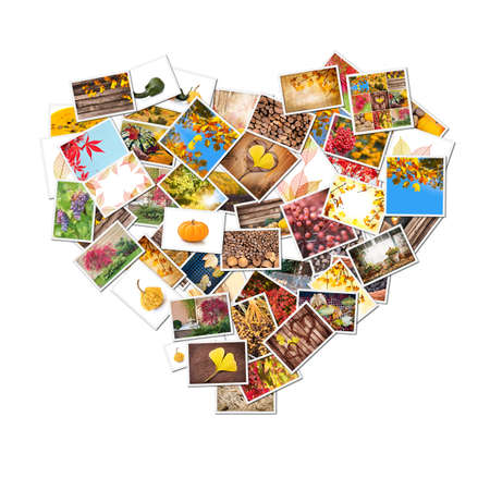 Autumn photos collage in the shape of heart isolated on white background photo