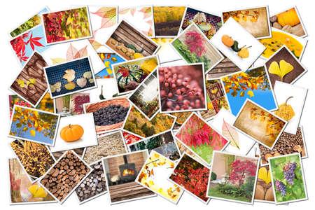 season photos: Stack of autumnal photos isolated on white background Stock Photo
