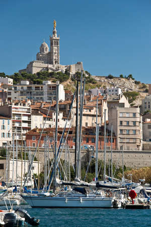 garde: Notre dame the la Garde and the old port of Marseille, France Stock Photo