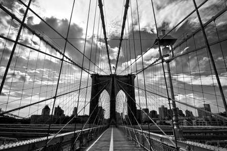 Brooklyn bridge, black and white, New York, USA Stok Fotoğraf
