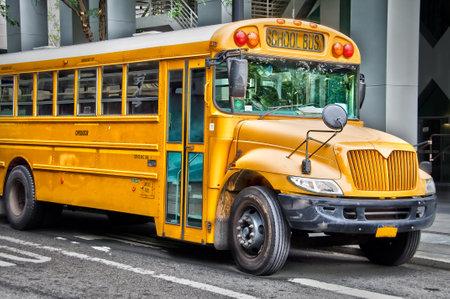 schoolbus: American school bus in a street Editorial