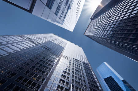 Looking up at business buildings in downtown New York, USA photo