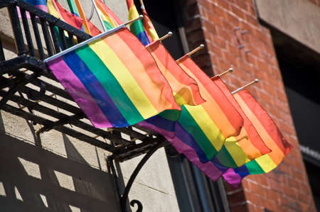 greenwich: Rainbow flags on Christopher street, Greenwich village,  New York, USA Stock Photo