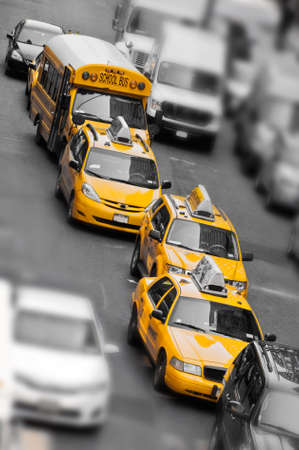 Yellow taxi in Manhattan, New York, USA photo