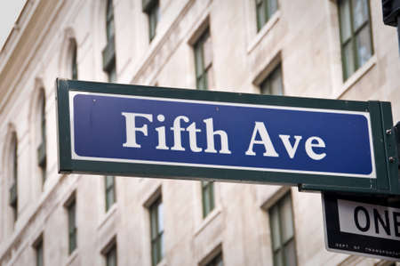 fifth: New York Fifth avenue street sign post Stock Photo