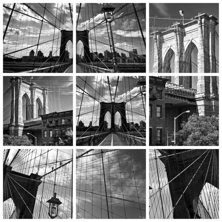 city square: Square collage of the Brooklyn bridge in black and white, New York City, USA Stock Photo