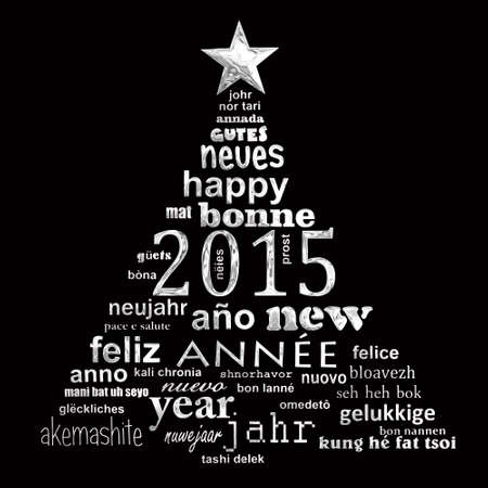 multilingual: 2015 new year multilingual text word cloud greeting card in the shape of a christmas tree
