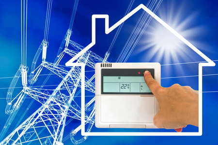 hands in the air: Electric heating and air conditioning concept