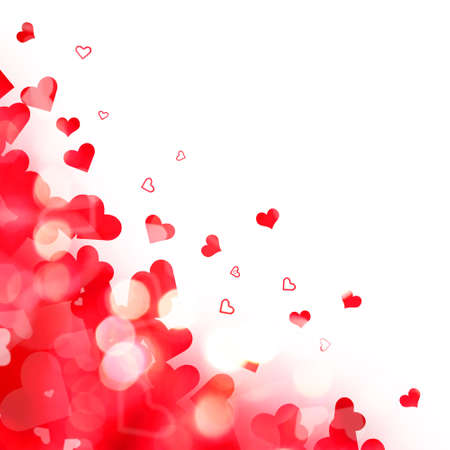 shiny day: Shiny background of red lights and hearts isolated on white background Stock Photo