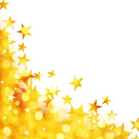 estrella: Fondo brillante de las luces de oro con estrellas aisladas sobre fondo blanco