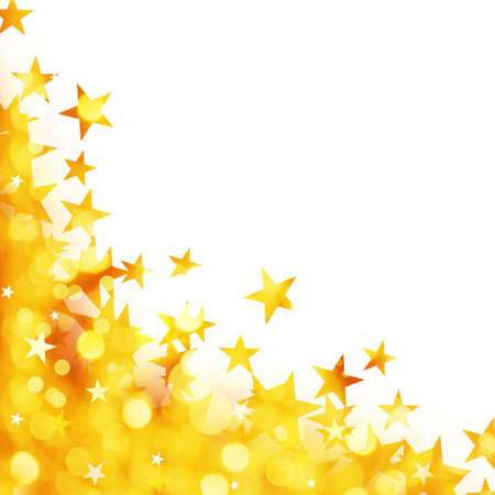 gold star: Shiny background of golden lights with stars isolated on white background
