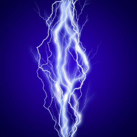 electric power: Vertical lightenings effect background in blue sky
