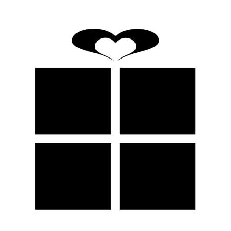 picto: Pictogram for a gift with ribbon heart, black isolated on white background Stock Photo