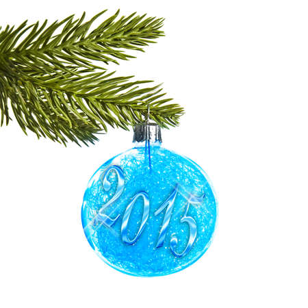 bluer: 2015 on a blue Christmas ball hanging on a tree isolated on white background