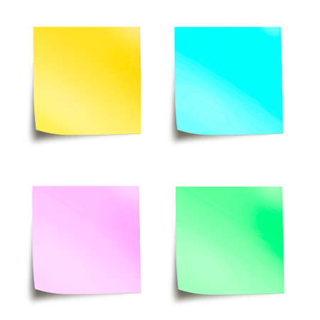 Four pastel colored sticky notes isolated on white background Foto de archivo