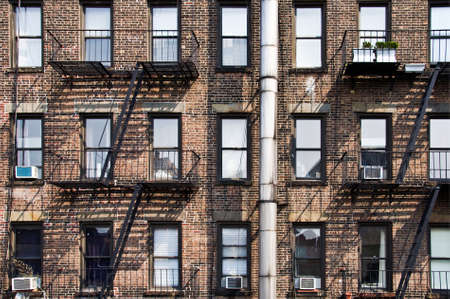 escape: New York brick buildings with outside fire escape stairs, USA