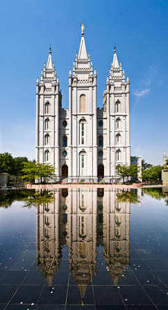 mormon temple: Sat Lake City Temple on Temple square, USA