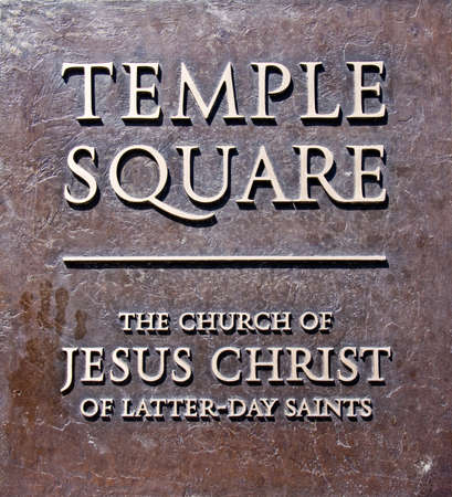 salt lake city: Temple square entry plaque, Salt Lake City, USA Stock Photo